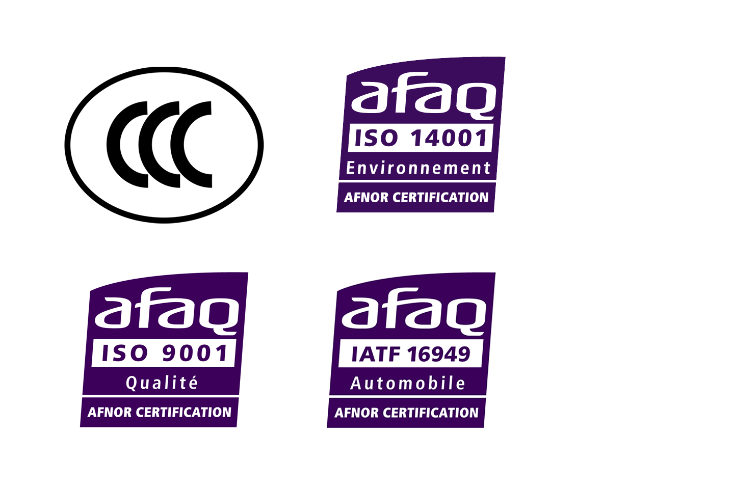 Certifications ISO, IATF et CCC IP3